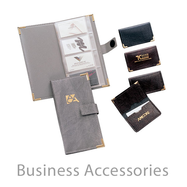 Business Accessories - Deluxe and Economy imprinted promotional luggage tags, business card holders, passport holders and accessories