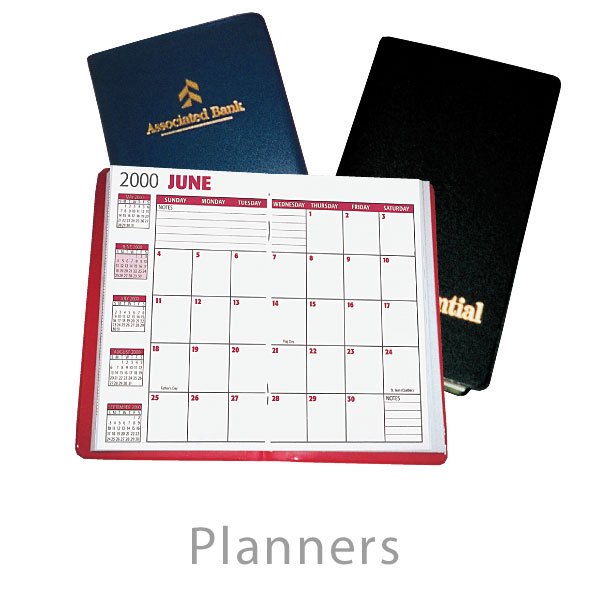 Business Planners and Calendars - Deluxe and Economy promotional imprinted calendars and planners
